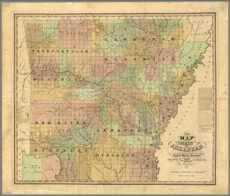 David rumsey historical map collection april 4 2015 15342 three different copies of tanners universal atlas 18331836 1837 and 1842 a rare map of arkansas by tanner issued here as a pocket map but also gumiabroncs Images