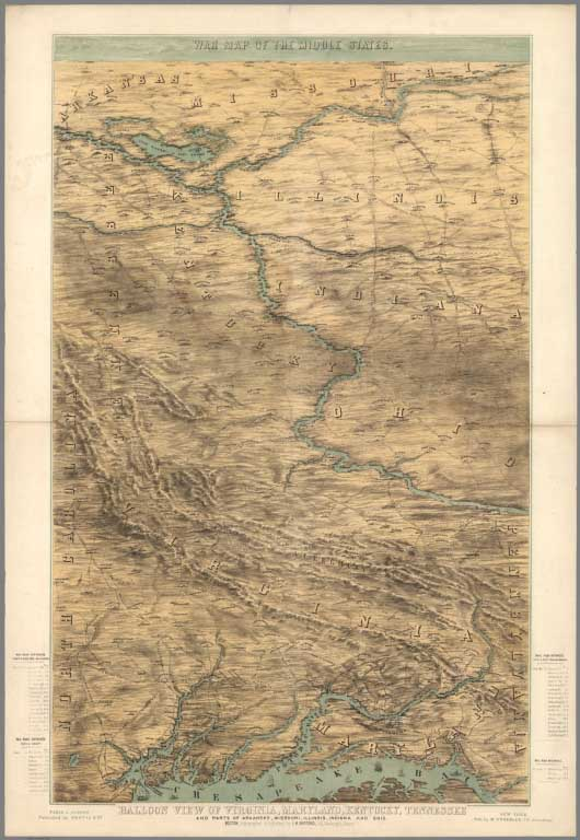David rumsey historical map collection april 4 2015 15342 war map of the middle states balloon view of virginia maryland kentucky tennessee and parts of arkansas missouri illinois indiana and ohio 1861 gumiabroncs Images