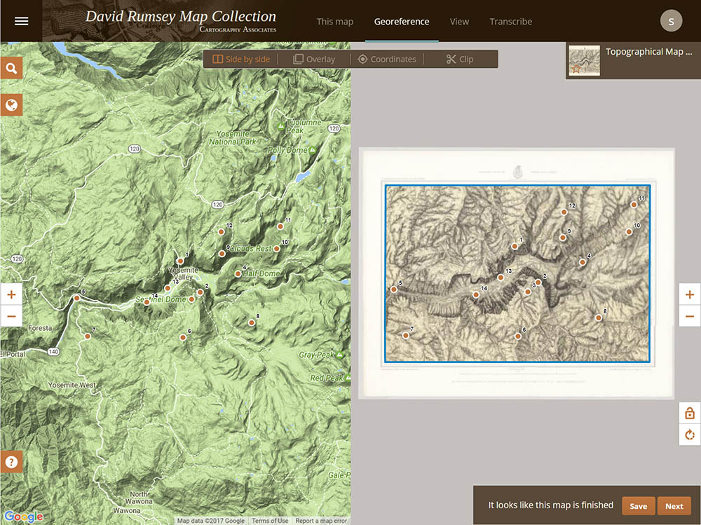 David rumsey historical map collection the collection map of yosemite valley 1883 showing the different steps and views in the georeferencer application gumiabroncs