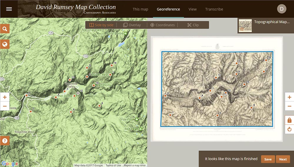 georeferencer v4 is a new application added to our online library it will allow you to overlay historic maps on modern maps or other historic maps