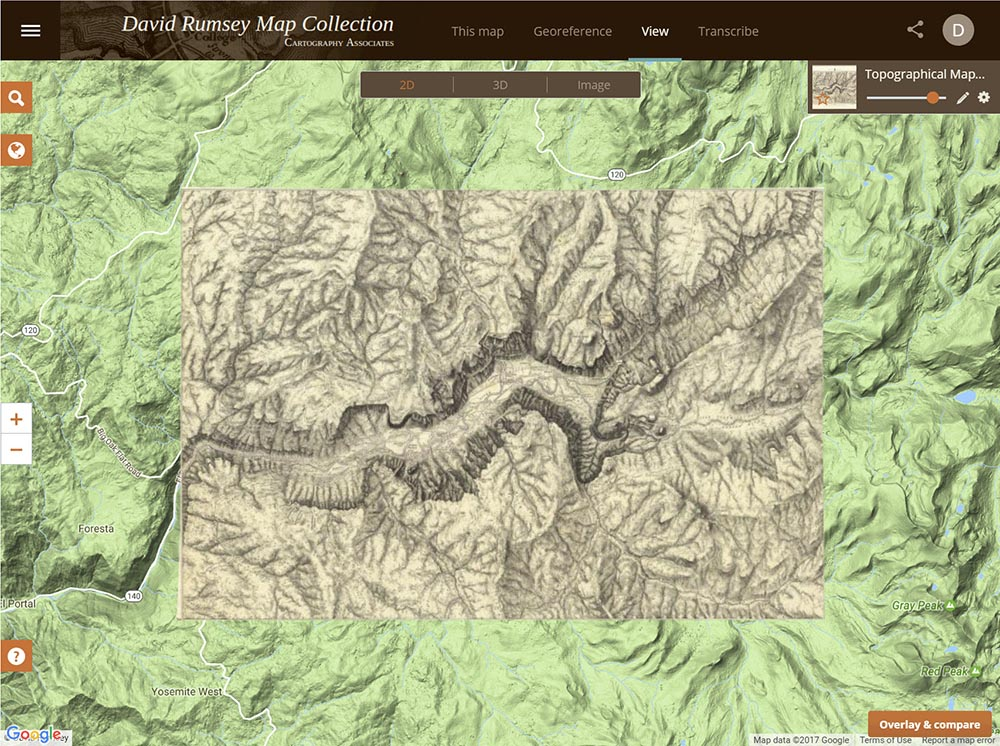 map of yosemite valley 1883 showing the different steps and views in the georeferencer application