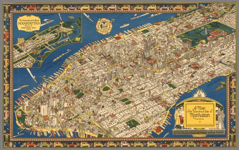 David Rumsey Historical Map Collection Over Pictorial Maps - New york city map 1950